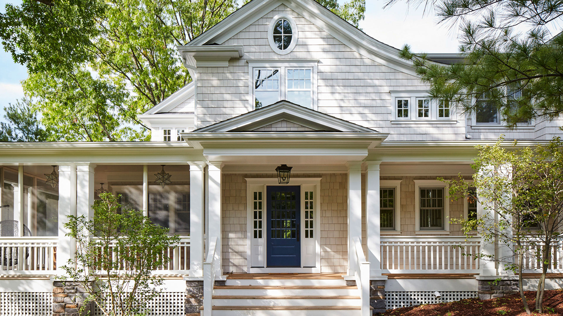Cute House with Blue Front Door
